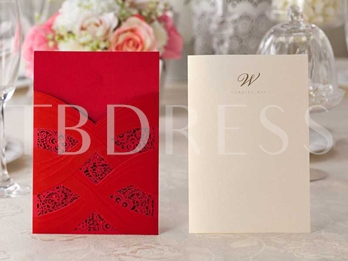Two-Tone Color Wedding Invitation Cards (20 Pieces One Set)