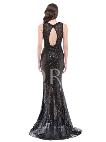 Lace Sequins Court Train Mermaid Evening Dress