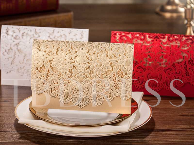 Golden Hollow-Out Wedding Invitation Cards (20 Pieces One Set)