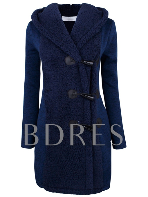Buttons Patchwork Lapel Women's Overcoat