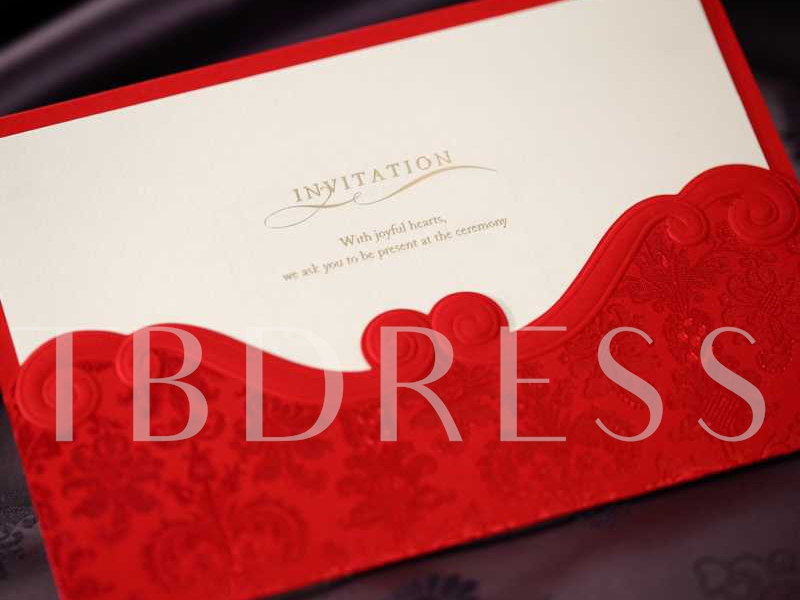 Red Lace Wedding Invitation Cards (20 Pieces One Set)
