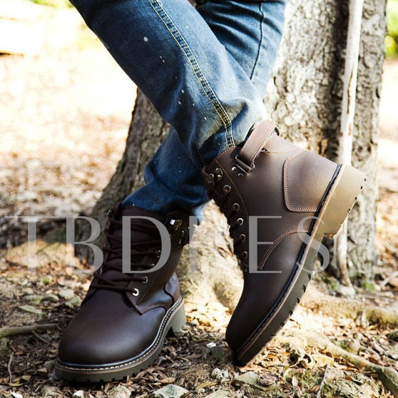 Square Heel Round Toe Lace-Up Front Sequins Men's Ankle Boots