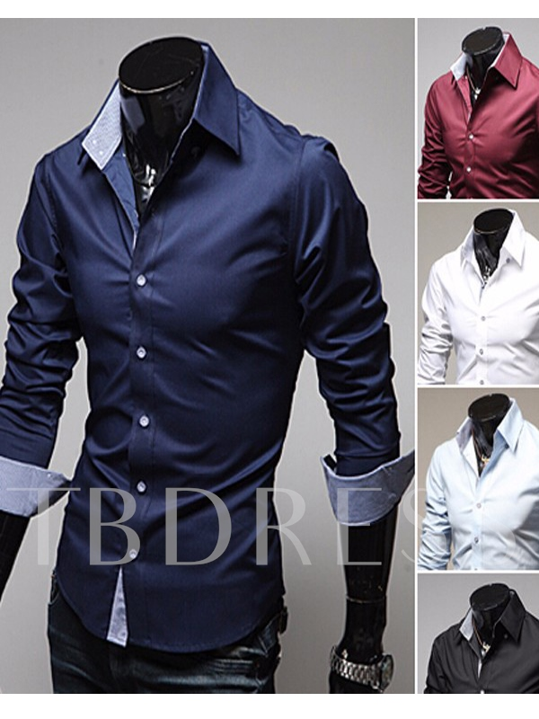 Slim Long Sleeve Lapel Men's Shirt with Buttons