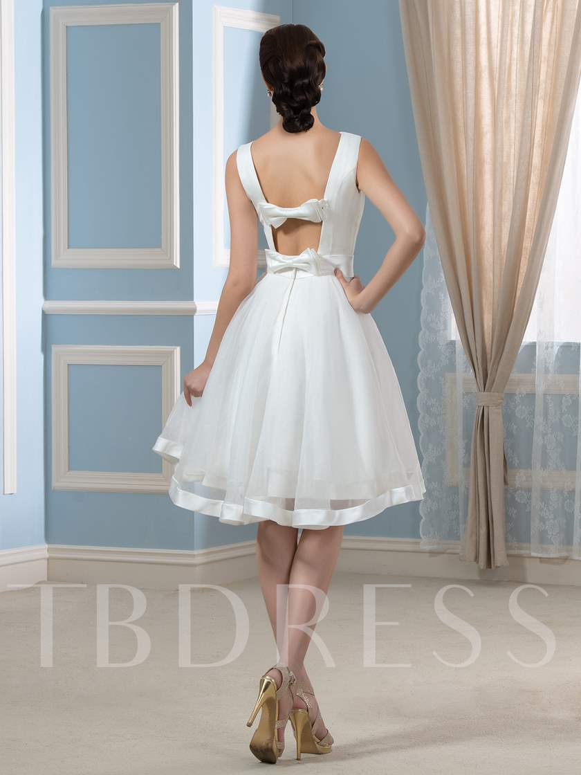 Bowknot Open Back Short Beach Wedding Dress