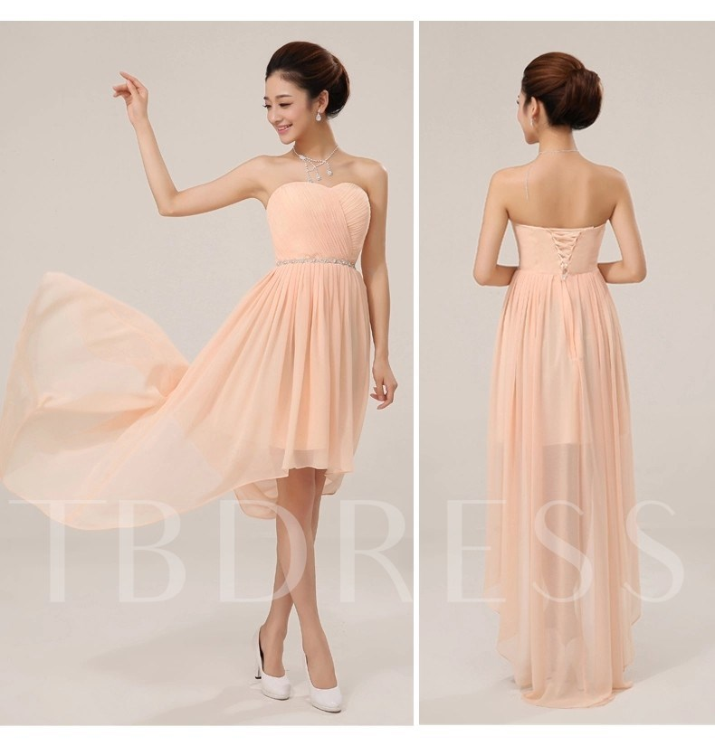 Strapless Beaded High Low Bridesmaid Dress