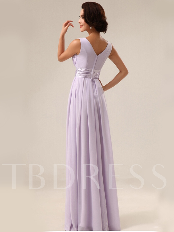 A-Line V-Neck Empire Waist Floor-Length Bridesmaid Dress