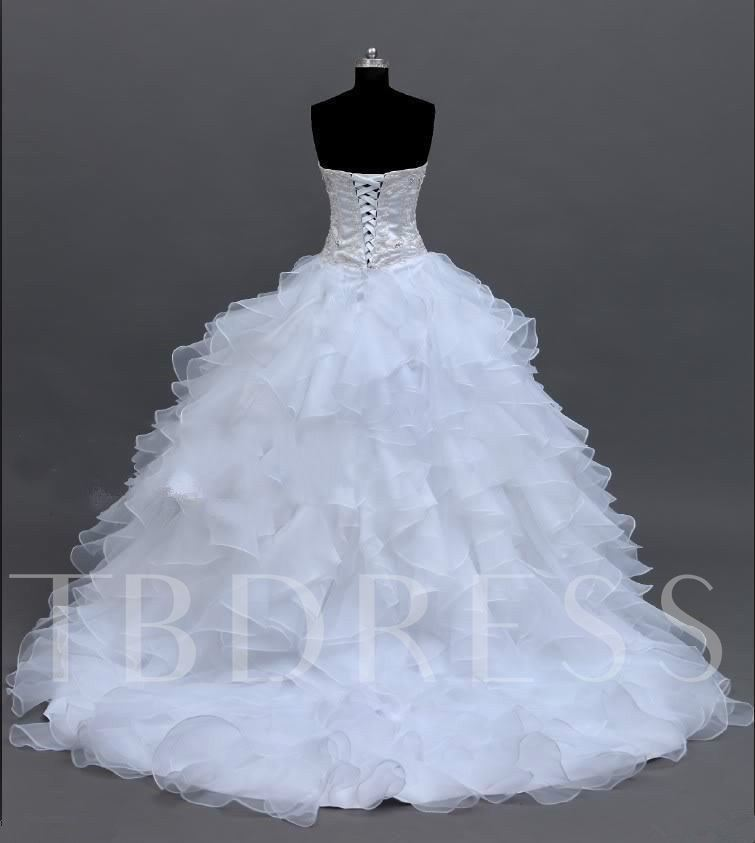 Beaded Bodice Cascading Ruffles Ball Gown Wedding Dress 2019