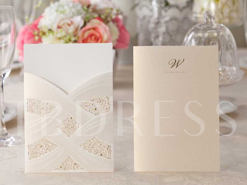 Cream Hollow-Out Invitation Cards (20 Pieces One Set)