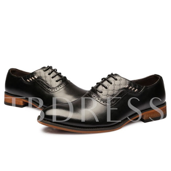 Pointed Toe Lace-Up Front Square Heel Sequins Men's Oxfords