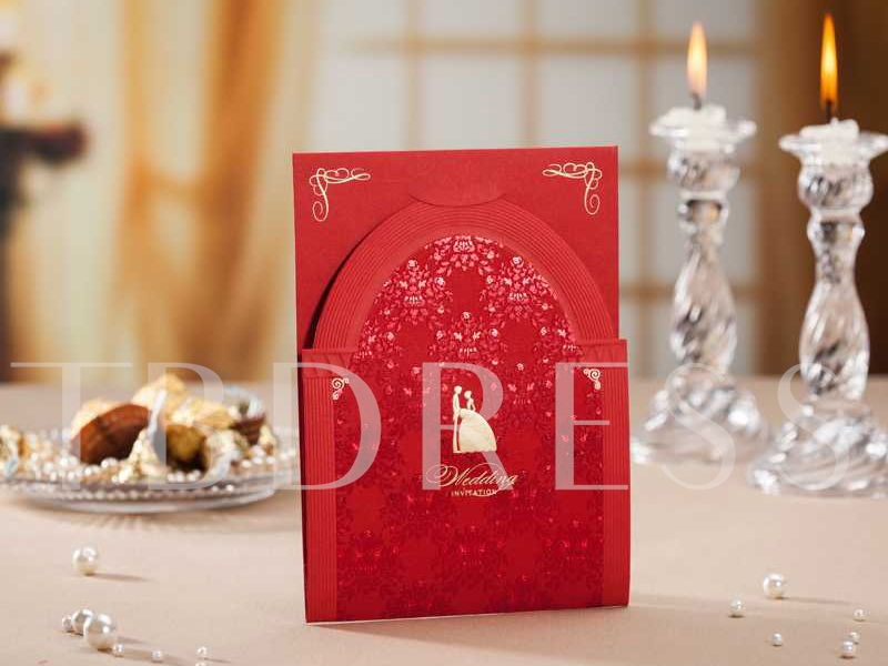 Red Tiered Hollow-Out Wedding Invitation Cards (20 Pieces One Set)