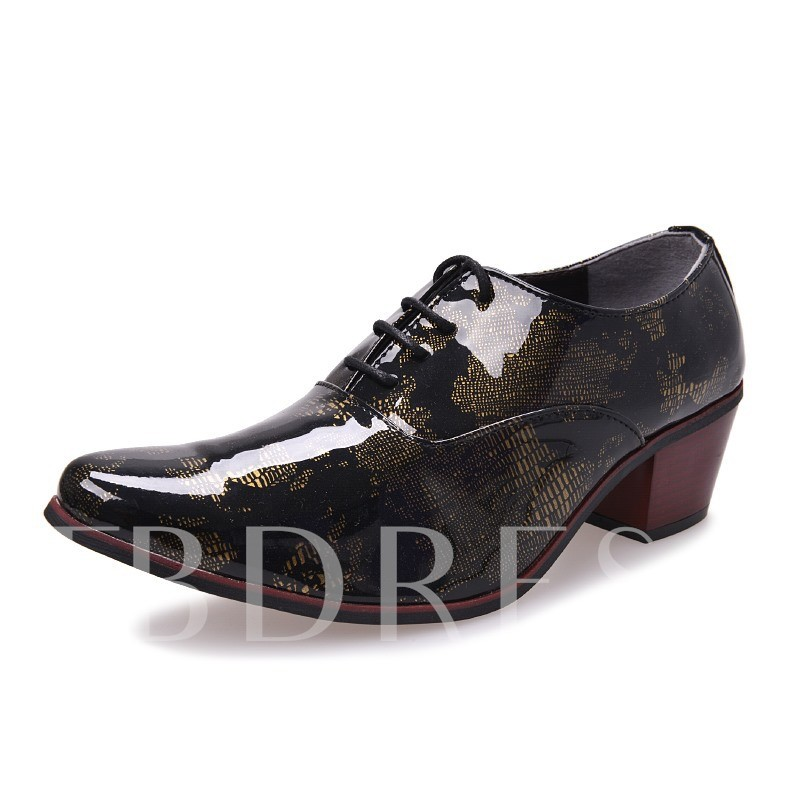 Chunky Heel Lace-Up Front Round Toe Men's Oxfords