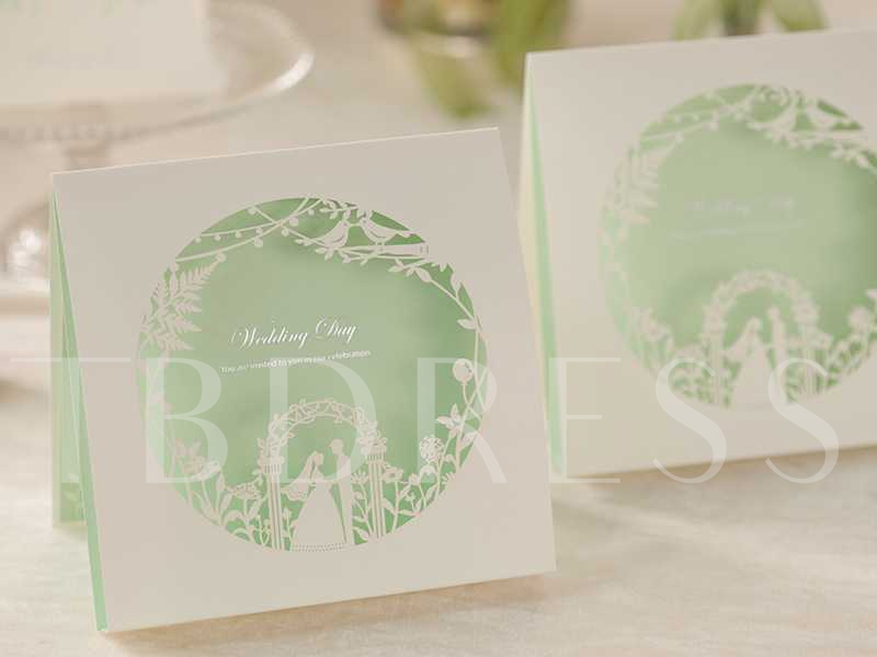 Mint Hollow-Out Newlyweds Invitation Cards (20 Pieces One Set)