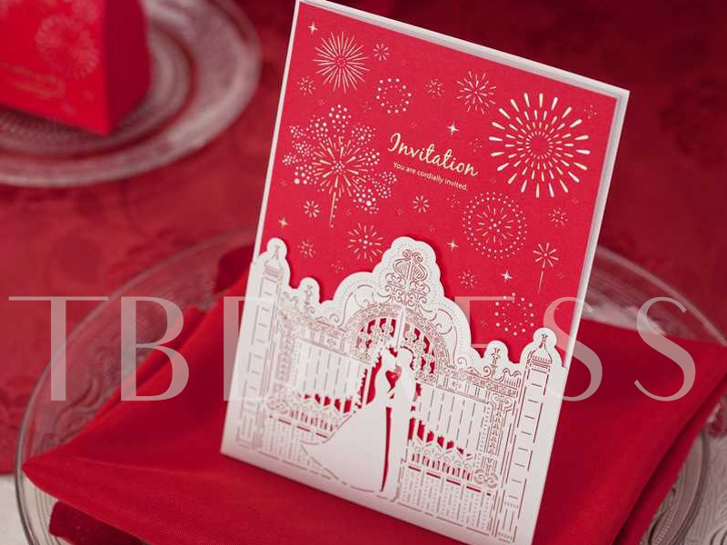 Red Newly-Weds Firework Wedding Invitation Cards (20 Pieces One Set ...