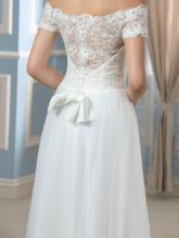 Off-The-Shoulder Short Sleeve Lace Beach Wedding Dress