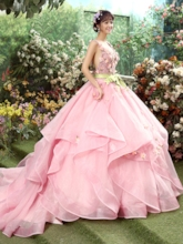 V-Neck Ball Gown Appliques Bowknot Backless Long Quinceanera Dress