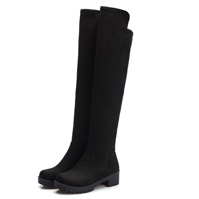 Square Low Heel Slip-On Over-the-Knee Women's Boots