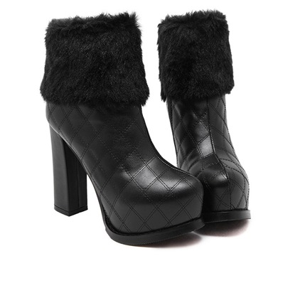 Platform Round Toe Side Zipper Chunky Heel Women's Ankle Boots