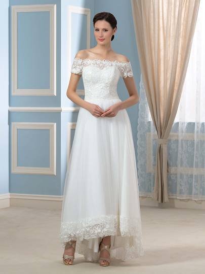 Off-The-Shoulder Short Sleeve Lace Beach Wedding Dress Off-The-Shoulder Short Sleeve Lace Beach Wedding Dress