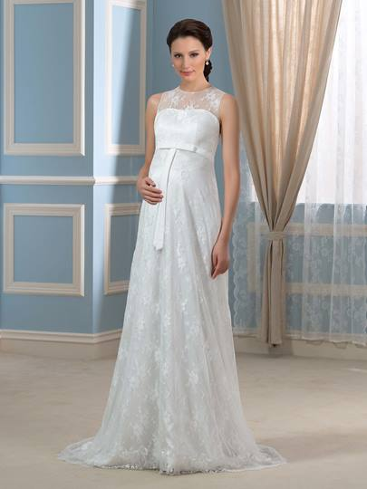 Lace Empire Waist A-Line Floor-Length Maternity Wedding Dress