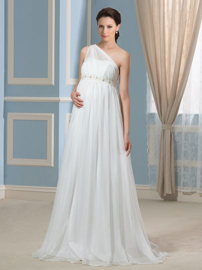 One-Shoulder Pearls Beading Empire Waist Maternity Wedding Dress