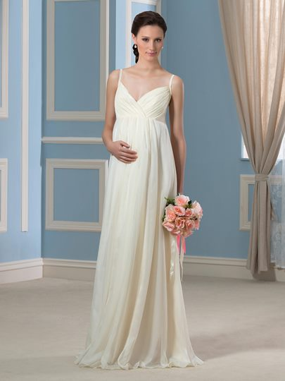 Champagne Spaghetti Straps A-Line Beach Maternity Wedding Dress