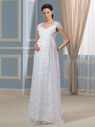 Lace Straps A-Line Empire Waist Maternity Wedding Dress