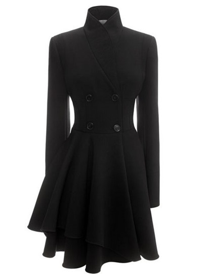 Slim Frill Asymmetric Double-Breasted Women's Overcoat