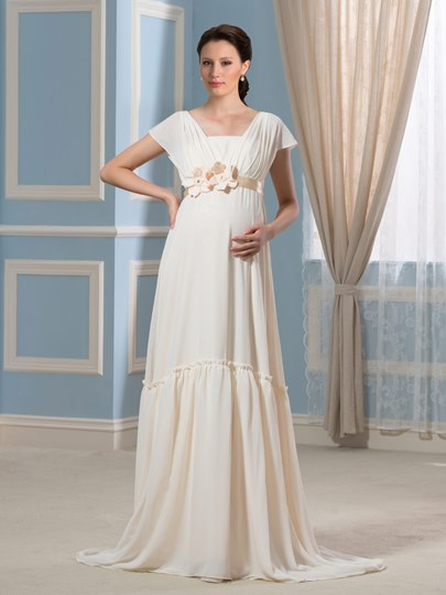 Chiffon Short Sleeve A-Line Floor-Length Maternity Wedding Dress