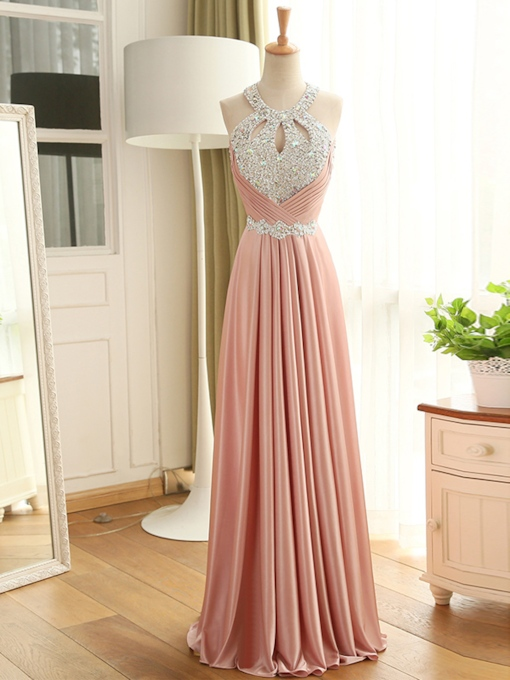 Round Neck Pleats Sequins Lace-Up Evening Dress