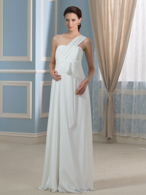 Casual One-Shoulder Chiffon Floor-Length Maternity Wedding Dress