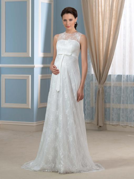 Empire Waist A-Line Lace Maternity Wedding Dress
