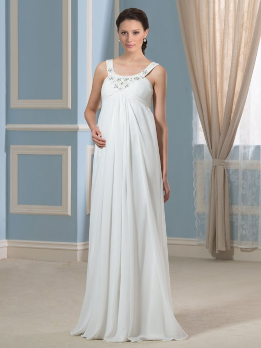 Pregnancy Empire Waist Beading Chiffon Maternity Wedding Dress