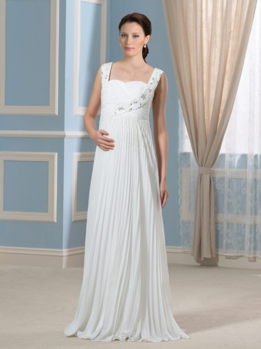 Beading Straps Empire Waist Chiffon Maternity Wedding Dress
