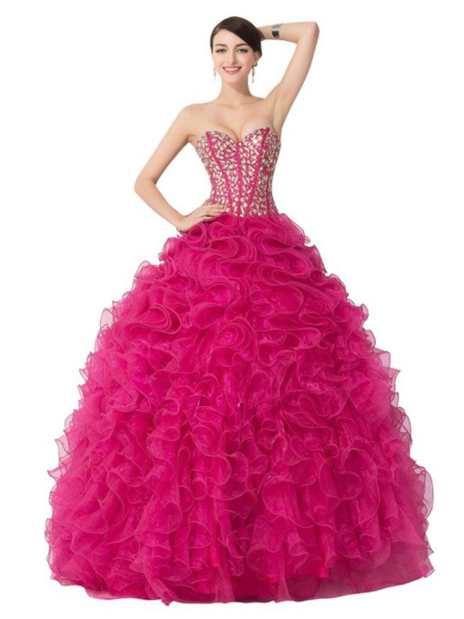 Sweetheart Cascarding Ruffles Ball Gown Quinceanera Dress