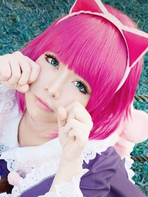 Hallowen Cosplay Wigs Short Straight Pink Synthetic Hair Wig
