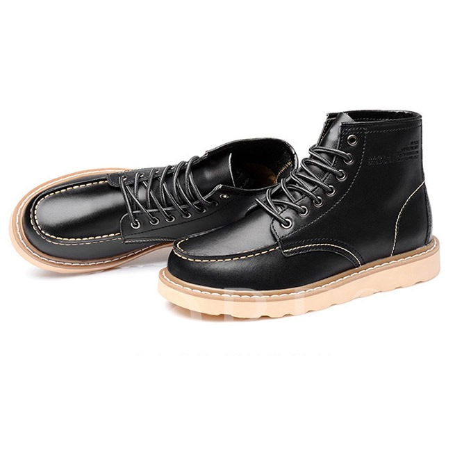 Flat Low Heel Lace-Up Front Round Toe Men's Ankle Boots