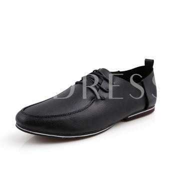 Square Heel Round Toe Lace-Up Front Low-Cut Upper Men's Loafers