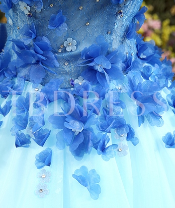 Scoop Appliques Lace-Up Ball Gown Floor-Length Quinceanera Dress