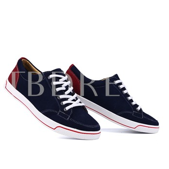 Contrast Color Flat Heel Lace-Up Front Round Toe Men's Canvas