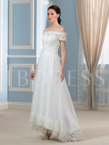 Off-The-Shoulder Short Sleeve A-Line Asymmetry Lace Tulle Wedding Dress