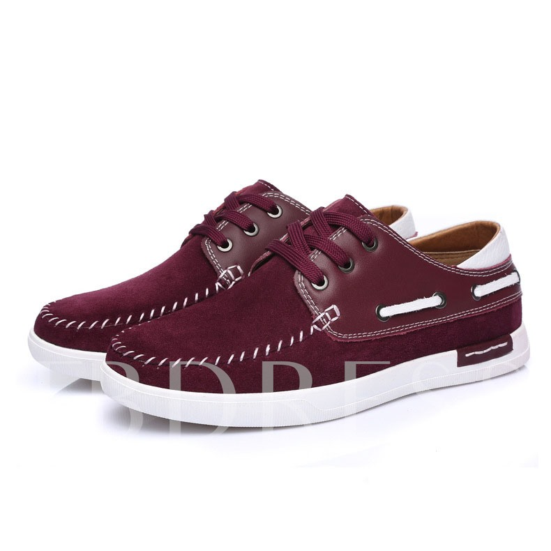 Lace-Up Front Flat Heel Color Block Men's Loafers