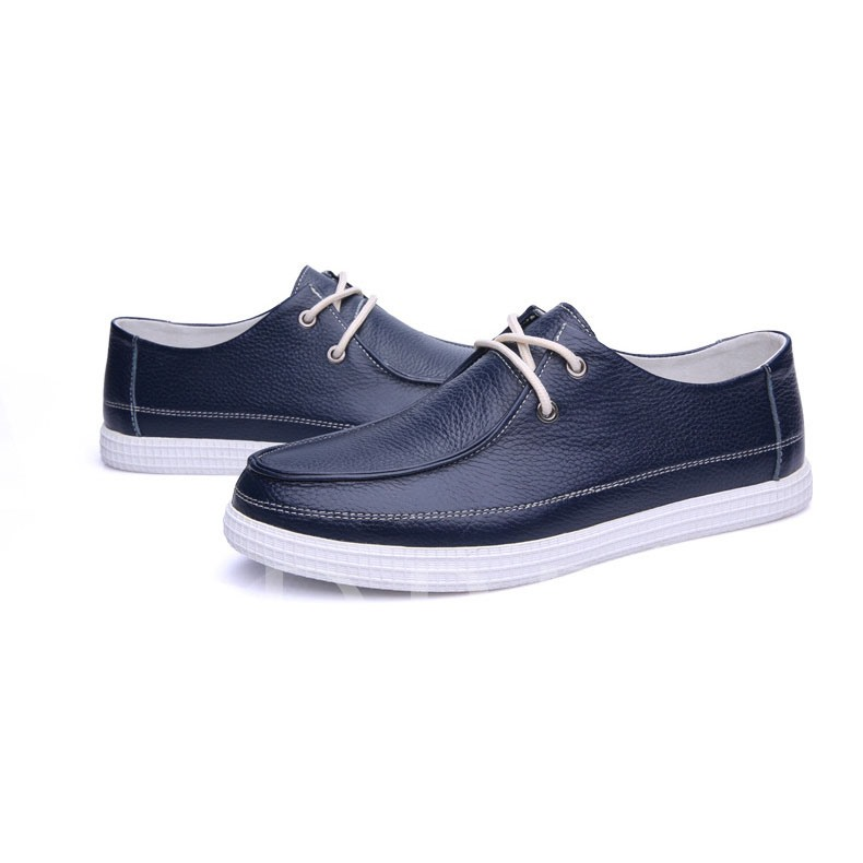 Square Toe Lace-Up Front Flat Heel Men's Sneakers
