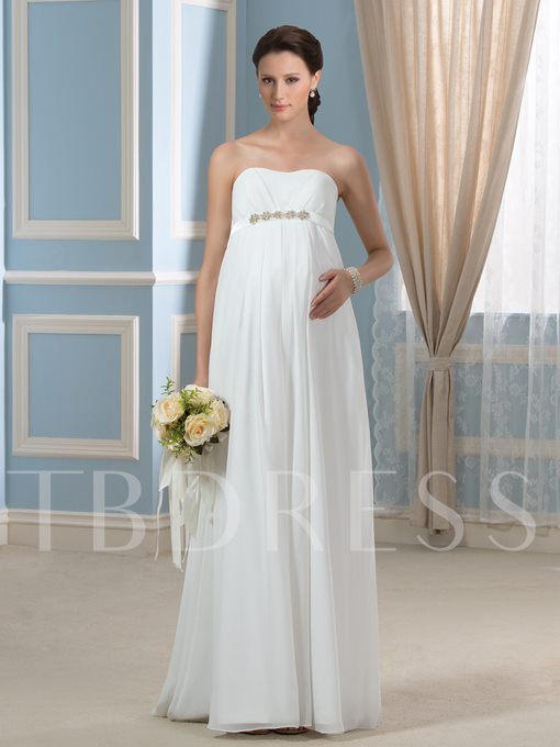 Strapless Beading Empire Waist Chiffon Pregnancy Maternity Wedding Dress
