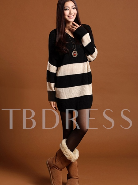 Loose Round Neck Long Sleeve Women's Sweater Dress