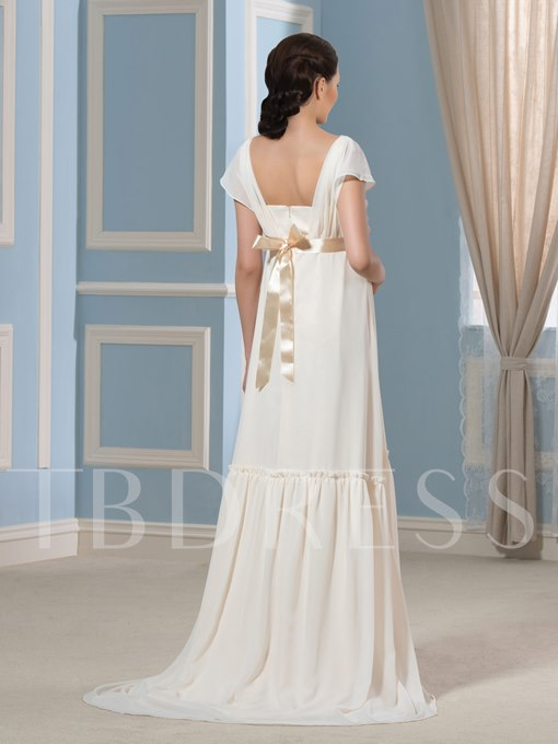 Short Sleeve Flowers Maternity Wedding Dress