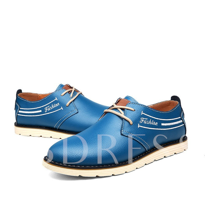 Round Toe Lace-Up Front Low-Cut Upper Flat Heel Men's Oxfords