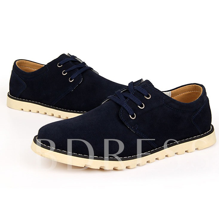 Round Toe Low-Cut Upper Flat Heel Lace-Up Front Men's Oxfords