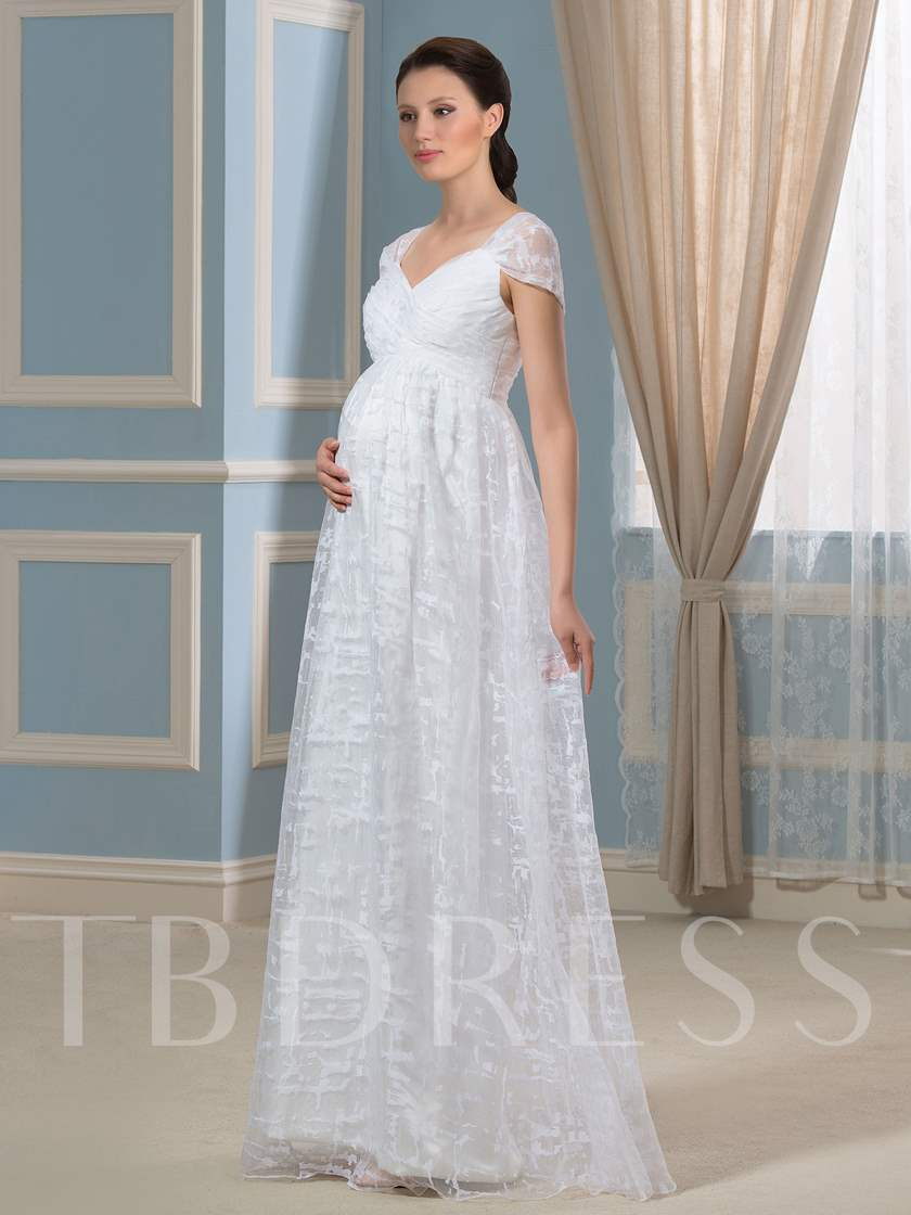 Empire Waist Lace Maternity Wedding Dress