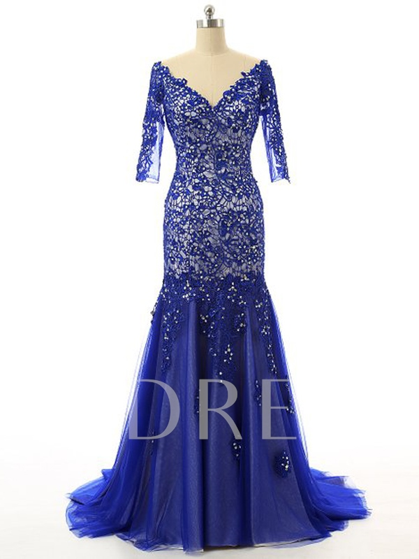 Long Sleeve Double Sequins Appliques V-Neck Evening Dress
