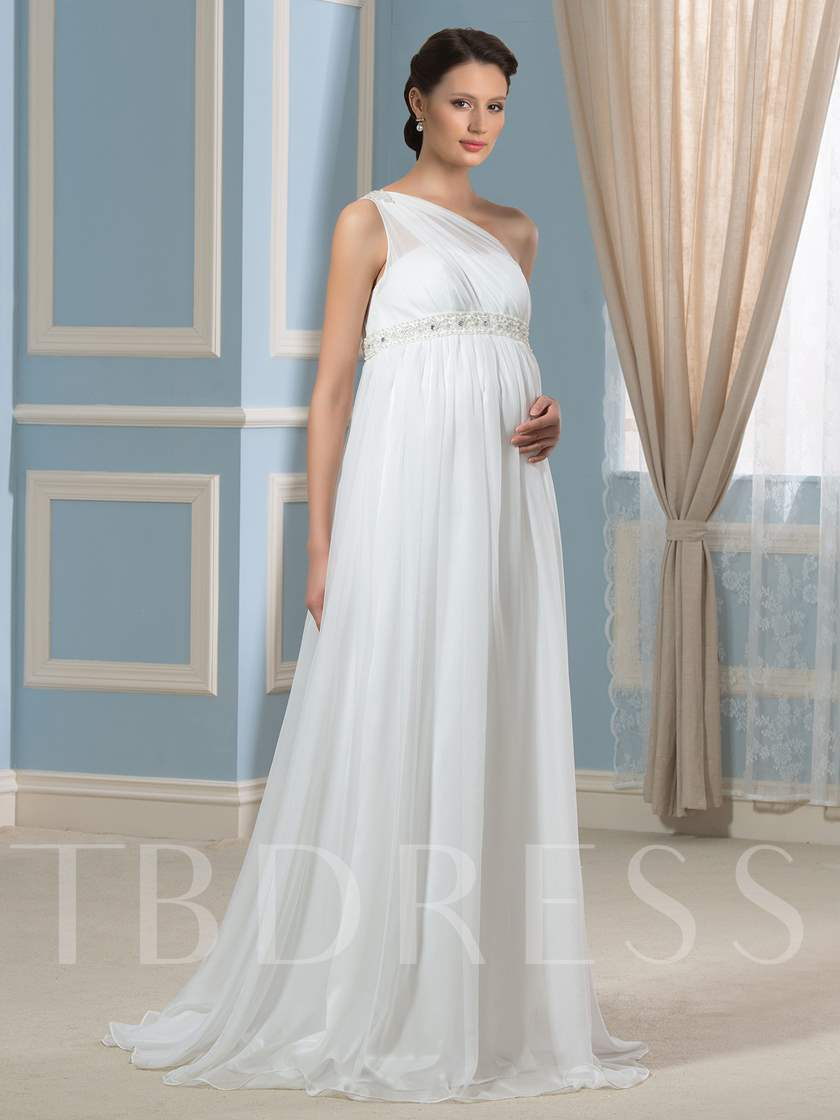 One-Shoulder Beading Empire Waist Maternity Wedding Dress
